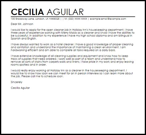 Cleaning Cover Letter Sle Cover Letter For A Cleaner Cover Letters