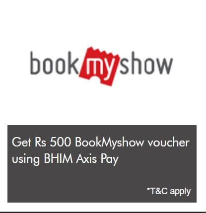 bookmyshow voucher get rs 500 bookmyshow voucher on recharges done via axis