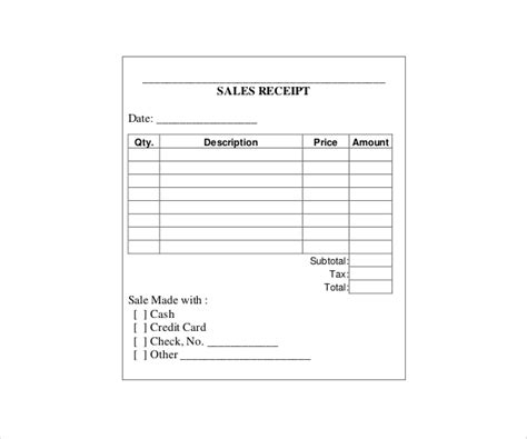 standard sales receipt template 20 printable receipt templates pdf word free