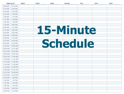 15 Minute Calendar Template search results for 15 minute increment daily schedule