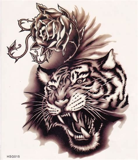 tattoo tribal tiger designs roaring tiger and rose with thorns tattoo design