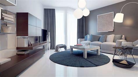 Decoración de salón en azul, gris y marrón   Muebles
