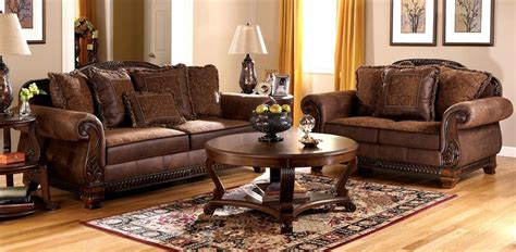 Living Room Pillow Set Faux Leather Sofa And Loveseat Set W Tapestry Pillows