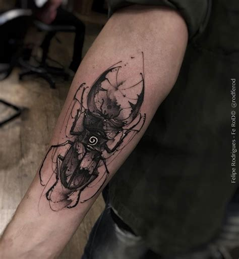 Blackwork Style Creative Forearm Tattoo Of Big Black Bug Creativity Tattoos Forearm Tattoos On