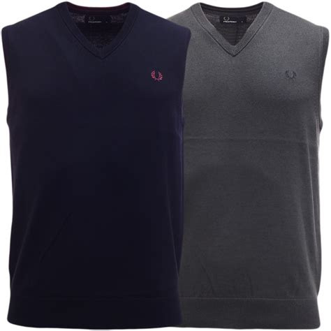 Fred Perry Tank Top mens fred perry knitted jumper sleeveless tank top new s m