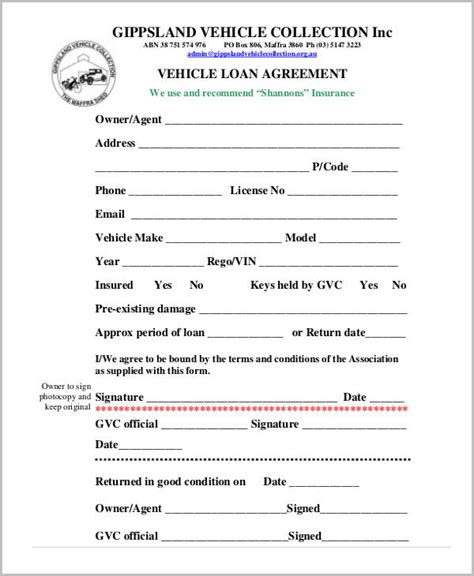 employee vehicle use agreement template free loan agreement form