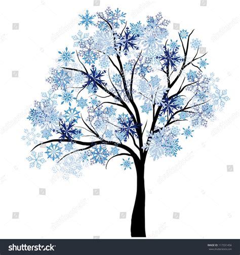 winter tree snowflakes stock vector beautiful winter tree snowflakes leaves vector stock vector 117331456