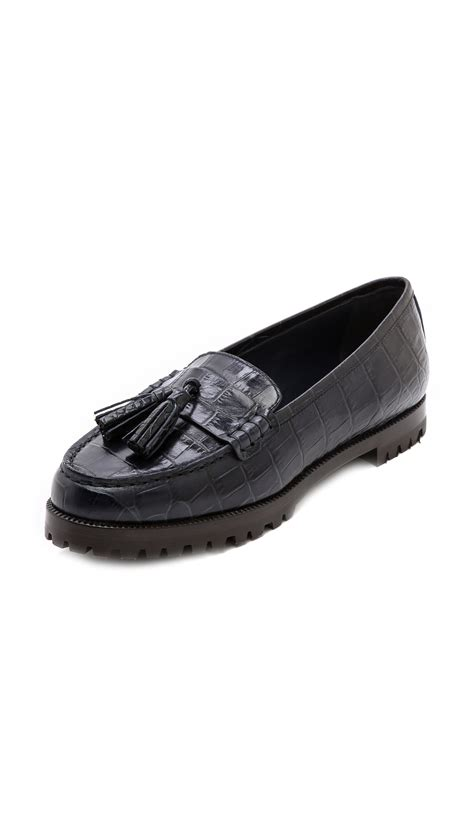 croc loafers shoes kayne croc embossed tassel loafers in blue navy lyst