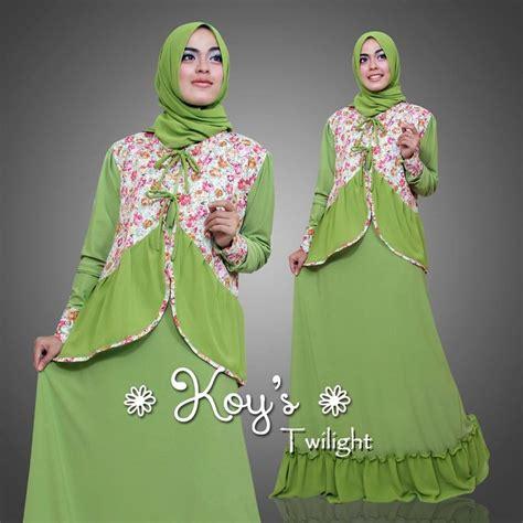 Dress Pesta Motif Bunga Korean Style 1 supplier baju muslim terbaru