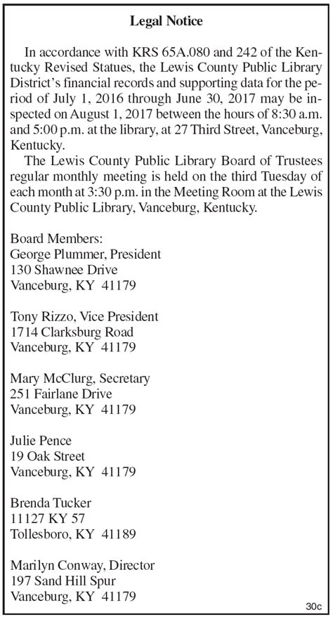 Lewis County Records Lewis County Library District S Financial Records The Lewis County Herald