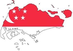 singapore vector map singapore flag map