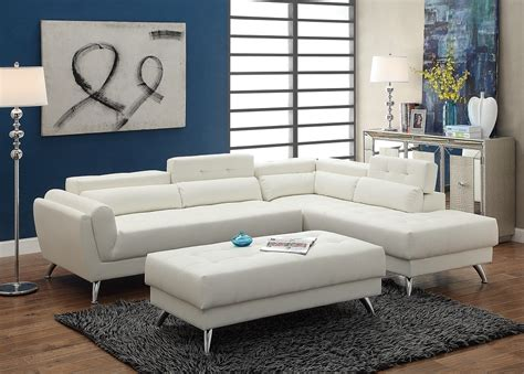 ultra modern white bonded leather sectional sofa with ottoman