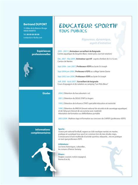 modele gratuit cv educateur sportif document