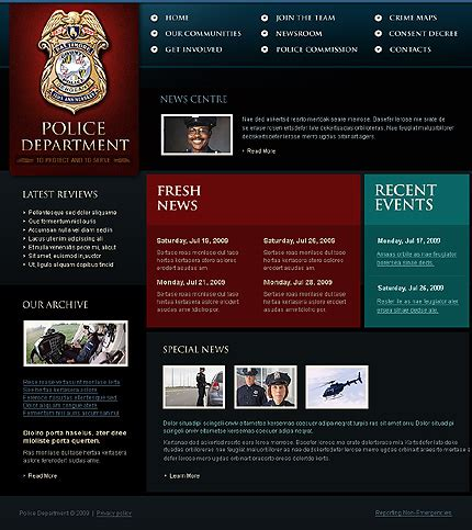 templates for police website police website template 22820