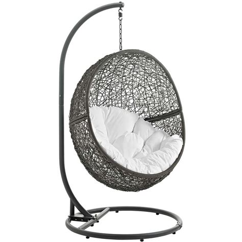 Patio Swing Chair With Stand Modway Hide Patio Swing Chair With Stand In Gray And White Eei 2273 Gry Whi