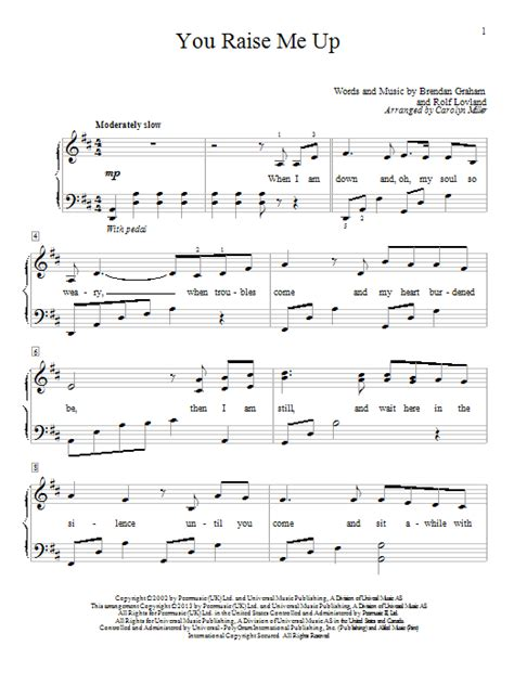 strumming pattern for you raise me up josh groban you raise me up easy piano