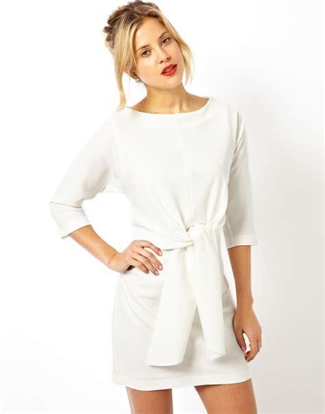 tie waist dress asos shift dress with tie waist in beige lyst