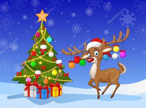 imagenes vectoriales de navidad pie de venados de dibujos animados junto al 225 rbol de