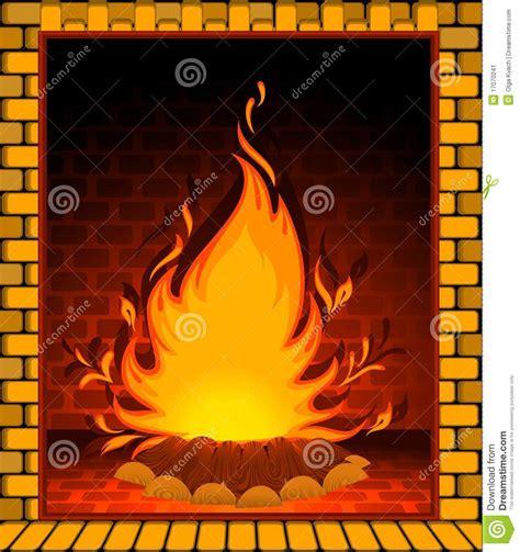 immagini camino camino di pietra con un fuoco conflagrant immagine stock