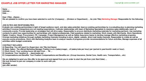 appointment letter format marketing manager marketing manager offer letter sle format