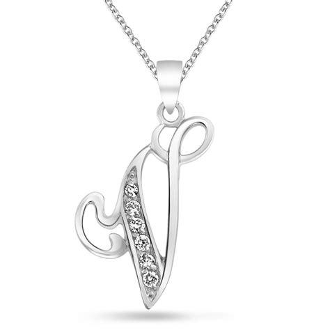 925 silver cz cursive initial letter v alphabet necklace 18in