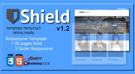 themes html css3 shield html5 css3 responsive template retina ready v1 2
