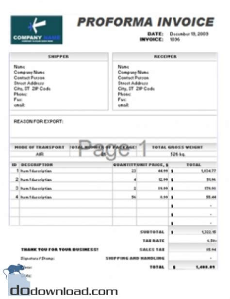 proforma invoice template image free proforma invoice