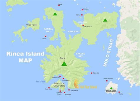 rinca island map komodo national park tourism maps