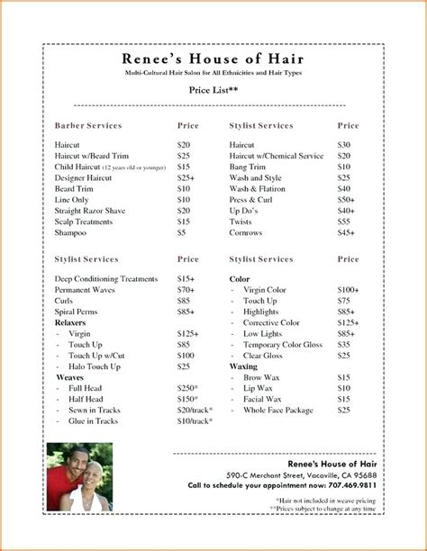Price List Template Hair Salon For Lovely Vectors S And Files Skincense Co Salon Price List Template