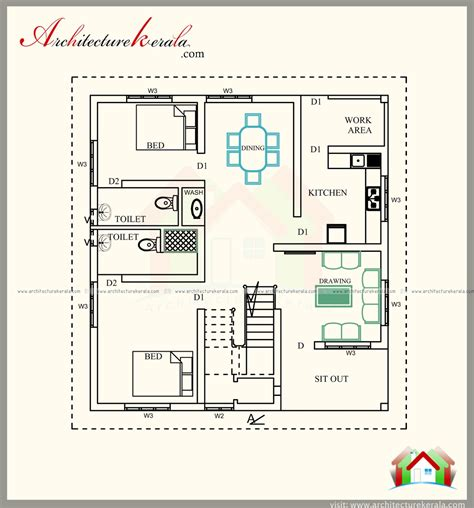 elevation floor plan 1700 square feet house plan in contemporary model