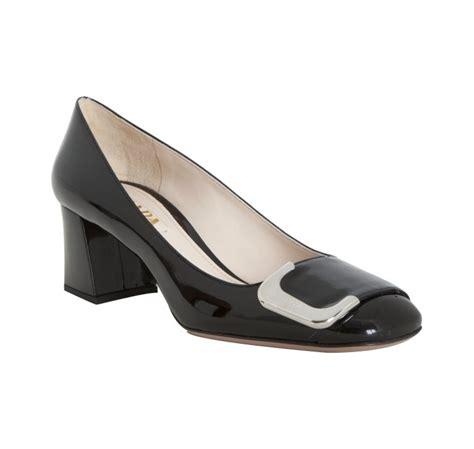 Patent Block Heel Pumps prada black patent leather block heel pumps in black lyst