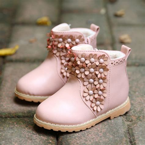 Baby Boot winter toddler baby boot korean flower thicken pirncess snow boots quality pu leather
