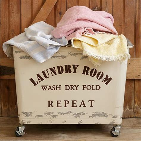 wash dry fold repeat rolling laundry cart antique