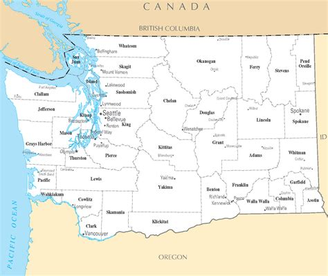 map with cities washington map blank political washington map with cities
