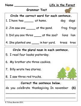 grammar test grammar test for in the forest foresman