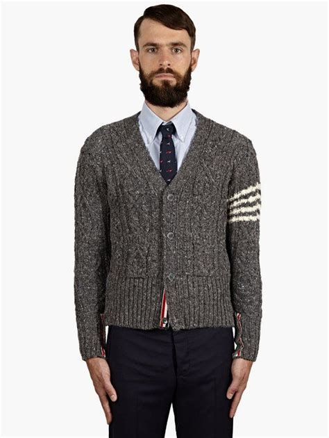 mens grey knitted cardigan thom browne s grey cable knit cardigan oki ni top