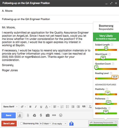 follow up with applications after no response boomerang for gmail