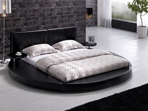 round leather bed vilenno king size modern style round platform bed black
