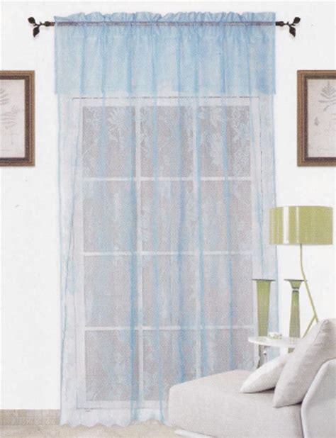 Turquoise Curtains With Valance Blue Warp Knitting Lace Sheer Curtain With Valance 152cm X