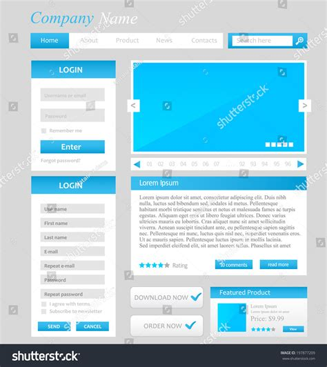 web design template ui elements blue grey and white