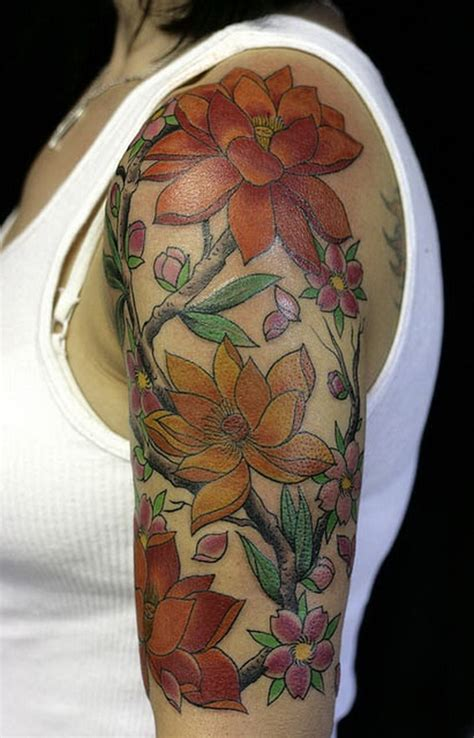 quarter sleeve flower tattoo designs women sleeve tattoos 4