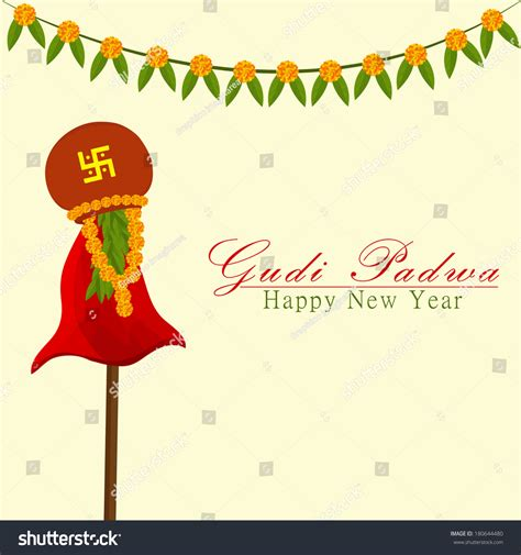 hindu new years gudi padwa indian lunar new years stock vector 180644480