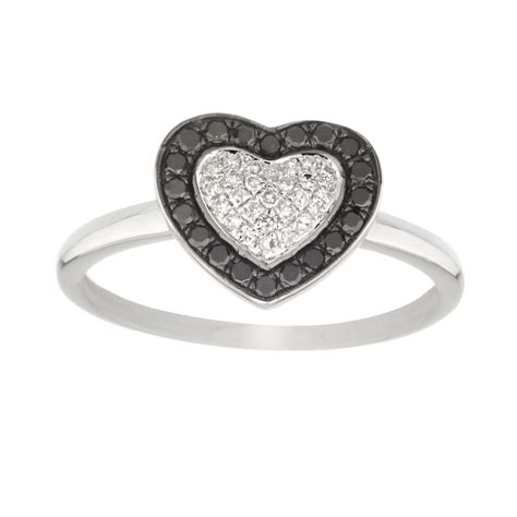 black and white ring in 14kt white gold