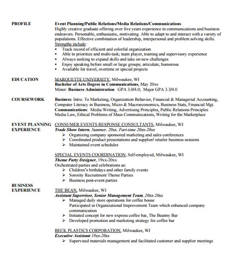 Event Planner Resume Template by 10 Event Planner Resume Templates Free Sles Exles