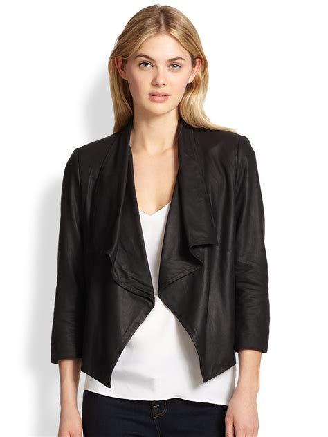 draped leather jacket alice olivia draped leather jacket in black lyst
