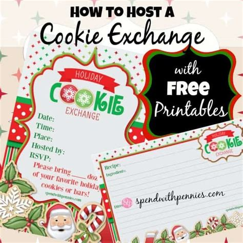 How To Host A Cookie Exchange Free Printable Invitations And Recipe Cards Spend With Pennies Cookie Invitations Templates