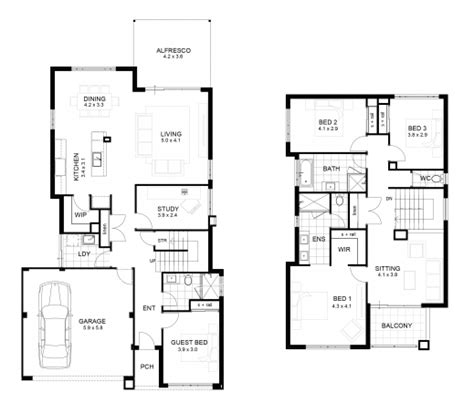 awesome sle floor plan for 2 storey house small