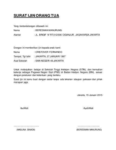 contoh surat izin orang tua wisata dan info sumbar