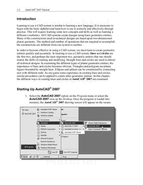 autocad 2007 drawing tutorial auto cad 2007 tutorial