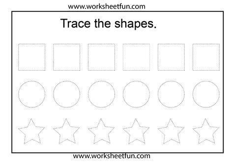 printable shapes for kindergarten free tracing shapes worksheets for preschoolers letters